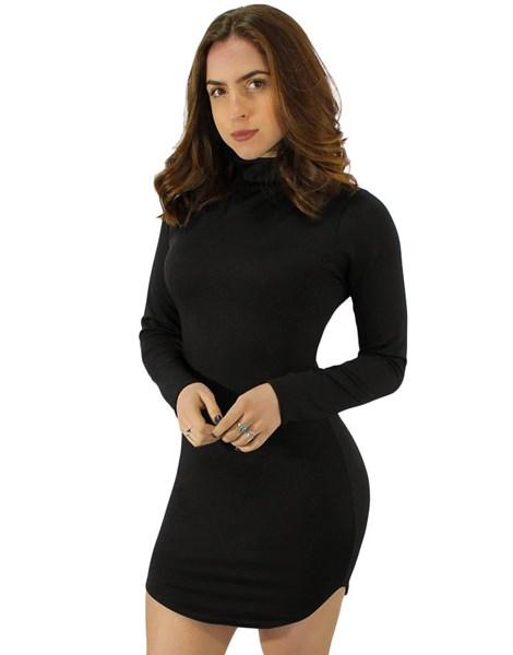 Vestido Manga Longa Fenda Lateral Gola Alta  REF: V0067
