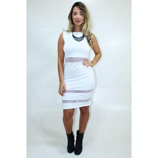 Vestido Midi com detalhes em Renda Tulê REF: V0063