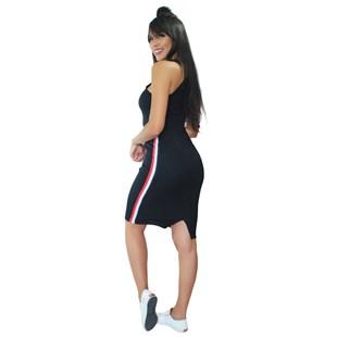 Vestido Midi de Alcinha Canelado com Listras Laterais REF: VRP328