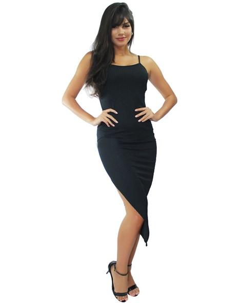 Vestido Midi de Alcinha com Fenda Canelado REF: VRP324