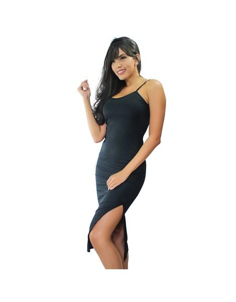 Vestido Midi de Alcinha Tubinho com Fenda REF: VRP336