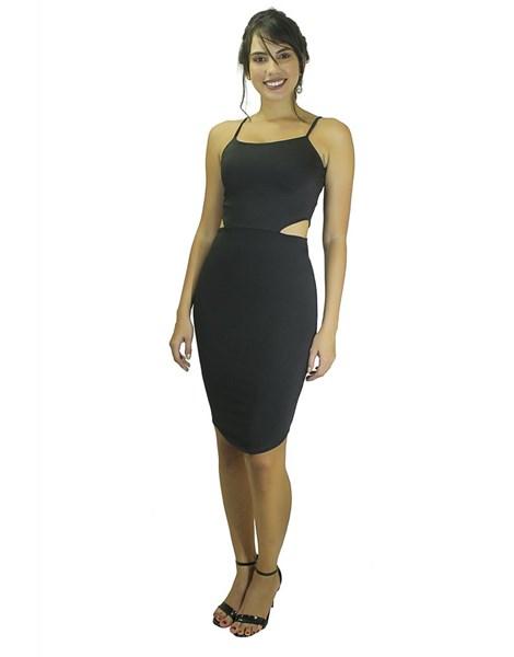 Vestido Midi Tubinho com Alcinha e Detalhes Laterais REF: VK21