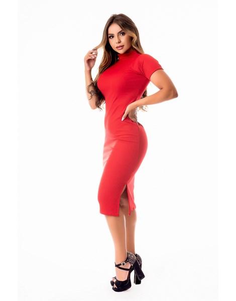Vestido Tubinho com Fenda Gola Alta REF: STY48