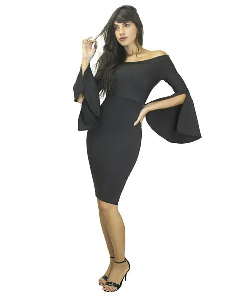 Vestido Tubinho Manga Longa Flare REF: VK1