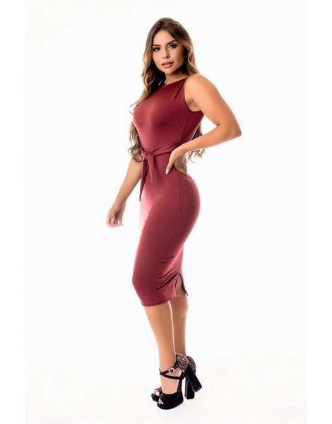 Vestido Tubinho Midi com Fenda Atrás Regata com Cinto Fake de Laço Evangélico, Social ou Dia a Dia REF: STY21