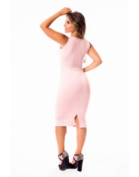Vestido Tubinho Midi com Fenda Atrás Regata com Cinto Fake de Laço Evangélico, Social ou Dia a Dia REF: STY22
